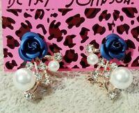 New Blue Enamel Cute Flower Pearl Crystal Betsey Johnson Women Stand Earrings