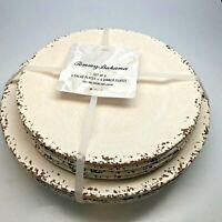 Tommy Bahama Melamine 8 Plate Set, 4 Salad 4 Dinner Plates Cream & Brown Crackle
