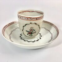 Antique Chinese Export Porcelain Tea Cup & Saucer Circa  1700s