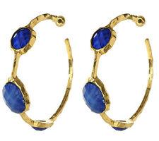 NWT Amrita Singh Cleopatra Lapis Blue Resin Hoop Earrings ERC 643