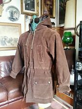 Vintage 1980s Leather Suede Hooded Coat.Stone Roses Pretty Green Gallagher,Small