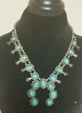 HANDMADE ARTISAN NAVAJO TURQUOISE STERLING SILVER SQUASH BLOSSOM NECKLACE