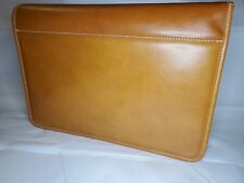 Garrett Leather Portfolio Folder In Cognac Travel Case Docs Keys Cards