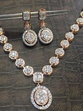 Pave 4.80 Cts Round Brilliant Cut Diamonds Necklace Earrings Set In 14Carat Gold