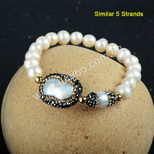 5Pcs Natural Pearl Beads With CZ Paved & Real White Pearl Beaded Bracelet GJA174