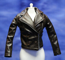 Barbie Faux Leather Chocolate Brown Coat Jacket just deboxed fits Silkstone FR
