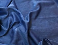 Silk/Cotton Voile Batiste Fabric Hand Dyed LAPIS BLUE 1/3 yd remnant