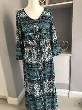 Floryday Blue White Ikat Long Button Down Maxi Dress Size L 14/16
