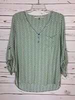 41 Hawthorn Stitch Fix Women's M Medium Turquoise Long Sleeve Top Blouse Shirt