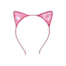Lady Girls Lace Cat Ears Hairband Cosplay Party Masquerade Headband Fancy Dress
