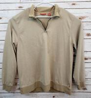 Izod Mens Size XXL Sweatshirt Quarter Zip Tan Striped 100% Cotton Long Sleeve