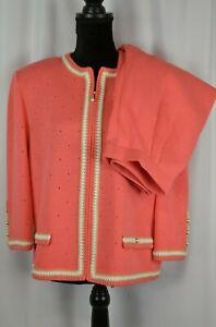 St. John Collection Pantsuit Sz 14 Full Zip Blazer Size 6 Pants USA Pink Casual