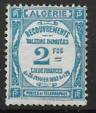 ALGERIE TAXE RECOUVREMENT 2F BLEU CLAIR N° 20 NEUF * GOMME COULEE AVEC CHARNIERE