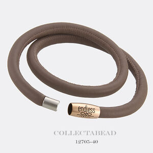 """Authentic Endless Rose Gold Plated Brown Double Leather Bracelet 8"""" 12705-40"""