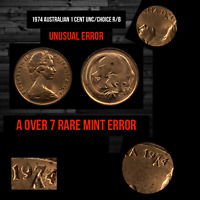 1974 Australian1 cent Rare Mint Error Coin A over 7 in Date (Extremely Rare) UNC