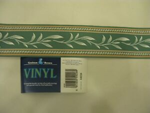 20m Vintage Graham & Brown Green Wall Paper Border Fearn Pattern No.54226   #W38