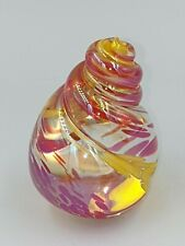 Neo Art Glass handmade red & yellow shell paperweight sculpture signed K.Heaton