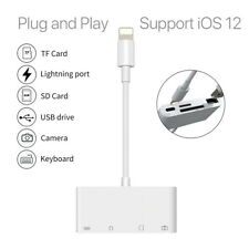 Lightning to SD Card Reader USB Camera Memory Micro Adapter For iPhone iPad 4in1