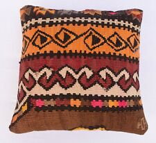Turkish Throw Pillow, Vintage Pillow Cover, 16''x 16'' Tribal Kilim Pillowcase