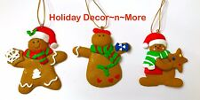 Set/3 Gingerbread Boy Clay Cookie Xmas Tree Ornament Star Hat Candy Decor New