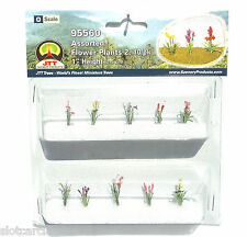 "JTT SCENERY 95560 ASSORTED FLOWER PLANTS 2  O SCALE  1"" HIGH   10/PK"