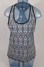 PrAna LUCA Tank Top Sheer Black & white Knit Racerback Size M MEDIUM Aztec