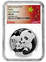 2019 China 10 Yuan Silver Panda NGC MS69 Early Releases - Flag Label