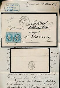 FRANCE 1869 LETTER 2 x NAPOLEON 3403 SEZANNE to EPERNAY...GIRARDIN SIGNED + HS