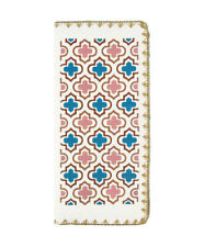LAVISHY MOROCCAN EMBROIDERED LARGE WALLET VEGAN FAUX LEATHER NEW (97-184White)