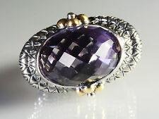 Barbara Bixby Sterling Silver 18k Gold 8.00 cttw East/West Amethyst Ring 8