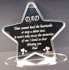 Miss You Dad Laser Engraved Mirror Star  Memorial Plaque Sign Remembrance