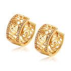 18K Gold Plated CZ Flowers Hoop Earrings Fashion Jewelry Earings Vintage