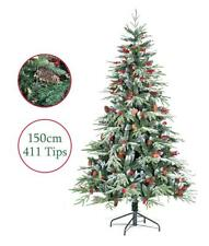 Artificial Christmas Tree 5ft 150cm Ontario Spruce PE Flocked Pine Cones Snow