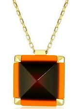 """NEW Kate Spade New York """"Pyramid Hill"""" Orange Pendant Necklace NWT DIP DYED RARE"""