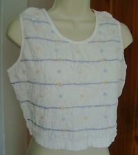 At Last Co L 100% Cotton White Smocked Slvls Top Lav Yellow Floral Stretch Crepe