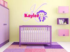 Baby Monkey Name Wall Decal Monogram Nursery Room Vinyl Graphics Boys Girls Baby