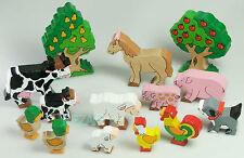 Bauernhoftiere Bauernhof 14-teilig Kuh Huhn Tiere Holz Haustiere Holztier