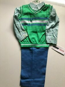 NWT New IZOD 3 PC CHECKED DRESS SHIRT PANTS SWEATER VEST SET 18M BOYS ENO GREEN