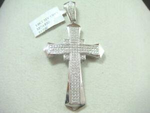 14K white gold diamond cross for Men