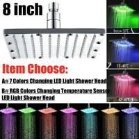 "8"" Square LED Rain Shower Head 7 Color Changing/Temperature Sensor Shower Head"