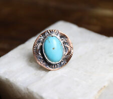 Silver & Copper Mixed Turquoise Gemstone Bezel handmade ring 2 1/2 Stamped Metal