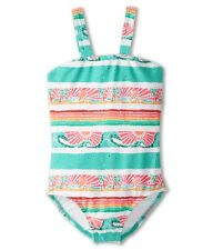 NWT Roxy -4- Girl's 1 Pc Waterfall Palm Tree Pink Aqua Tropical Swimsuit