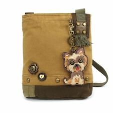 New Chala Handbag Patch Crossbody Brown Bag Canvas w/ Coin Purse YORKSHIRE Dog