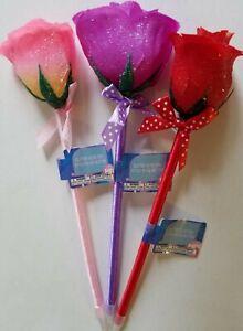 Glitter Rose Pens Wedding Signings Black Ink, Select: Pink, Purple or Red
