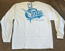 NEW Costa Retro Long Sleeve T-Shirt Med White RETRO11