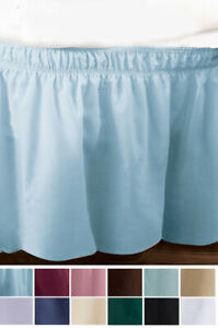 Wrap-Around Queen/King Bedskirt Elastic Fitted Dust Ruffle Bed Skirt Fit 7 COLOR