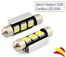 x2 BOMBILLAS COCHE FESTOON C5W 39MM 3 LED SMD 5050 MATRICULA CANBUS NO ERRORES
