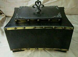 SOLID WOOD LEATHER COVERED KEEPSAKE BOX - Oriental Design, Burgundy Felt Lining