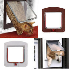 New Dog Cat Door Small Pet Animal 4 Way Magnetic Locking Lockable Entry Exit