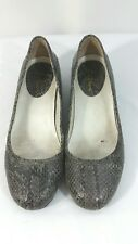 Cole Haan Gray Leather Snake Print Shoes Casual Rubber Wedge Womens Size 7B